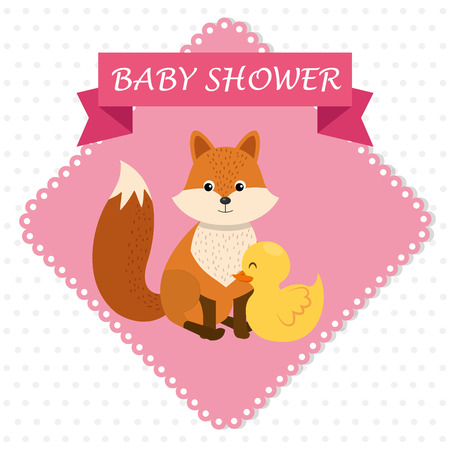 baby shower card with cute fox and duck vector illustration design 스톡 콘텐츠 - 112282834
