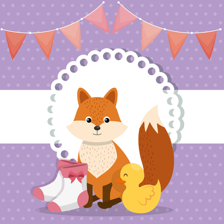 baby shower card with cute fox and duck vector illustration design