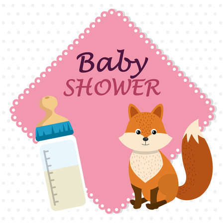 baby shower card with cute fox vector illustration design 스톡 콘텐츠 - 105776260