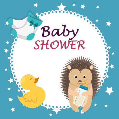 baby shower card with cute porcupine and duck vector illustration design