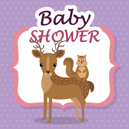 baby shower card with cute reindeer and chipmunk vector illustration design