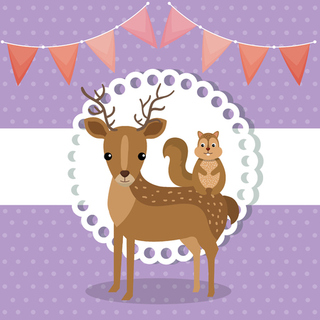 baby shower card with cute reindeer and chipmunk vector illustration design Foto de archivo - 112282840