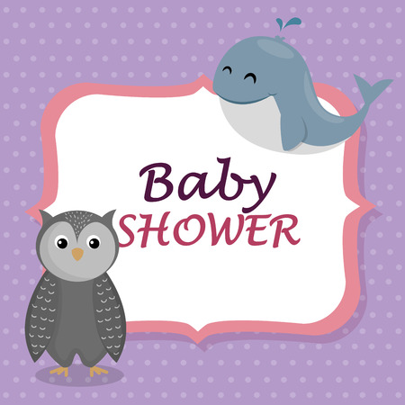 baby shower card with cute whale and owl vector illustration design