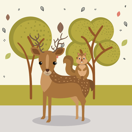cute reindeer and chipmunk animal characters vector illustration design