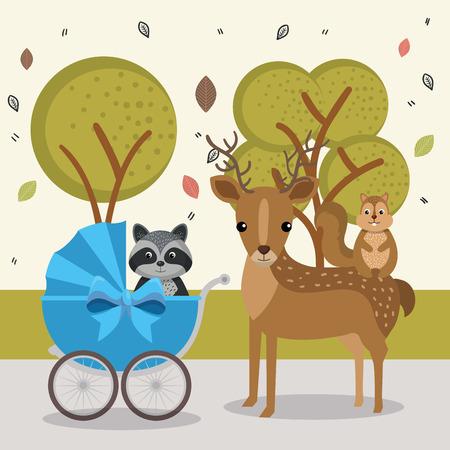 cute rabbit and chipmunk animal characters vector illustration design Illustration