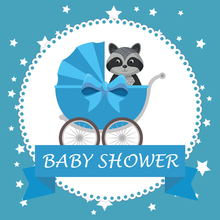 baby shower card with cute raccoon vector illustration design Фото со стока - 105776231