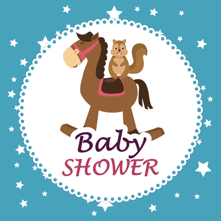 baby shower card with cute chipmunk in horse wooden vector illustration Foto de archivo - 105776232