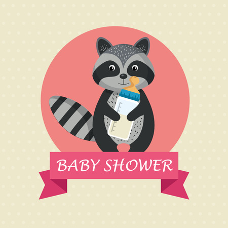 baby shower card with cute raccoon vector illustration design 스톡 콘텐츠 - 105776234