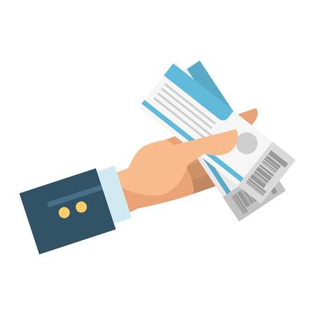 hand with tickets flight vector illustration design Illustration