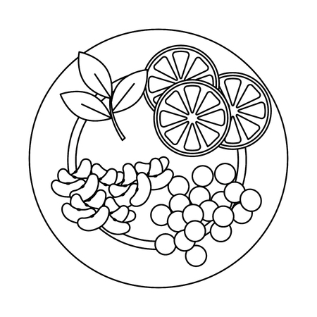 dish with fruits and vegetables vector illustration design