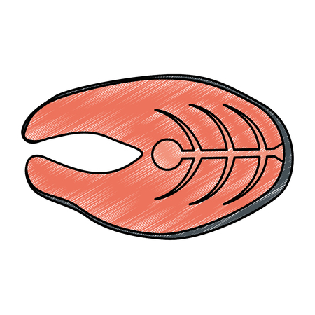 fresh salmon steak fish vector illustration design Çizim