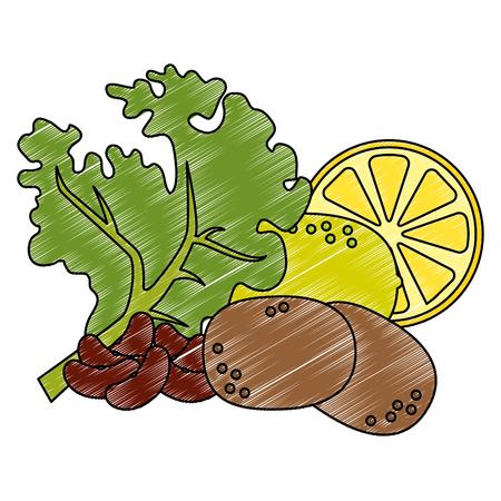 fresh lettuce with lemon and potatoes healthy food vector illustration design Illusztráció