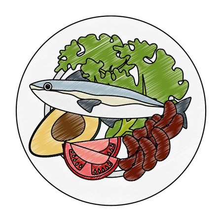 dish with salmon and broccoli vector illustration design Ilustrace