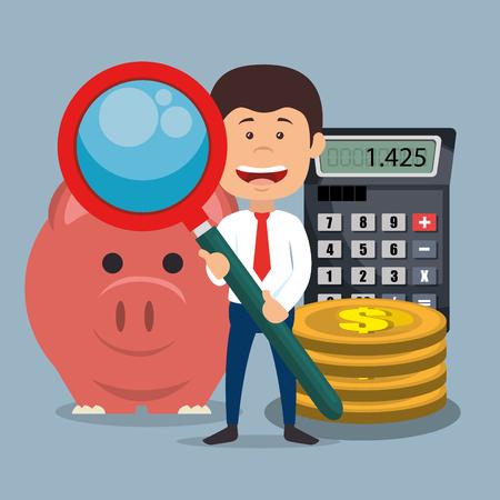 Carácter de empresario con lupa y diseño de vector de iconos de economía Ilustración de vector