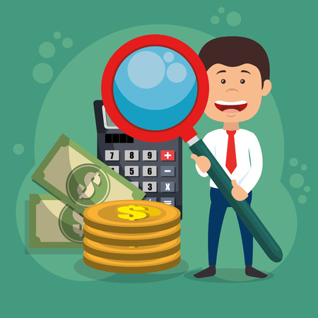 businessman character with magnifying and economy icons vector design Illustration
