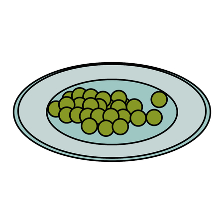dish with grapes healthy food vector illustration design