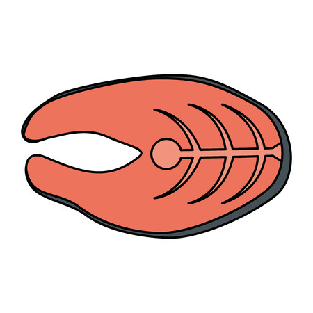 fresh salmon steak fish vector illustration design 向量圖像