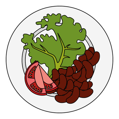 dish with fresh lettuce and beans vector illustration design