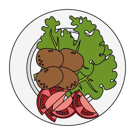 dish with fresh lettuce and potatoes vector illustration design Çizim