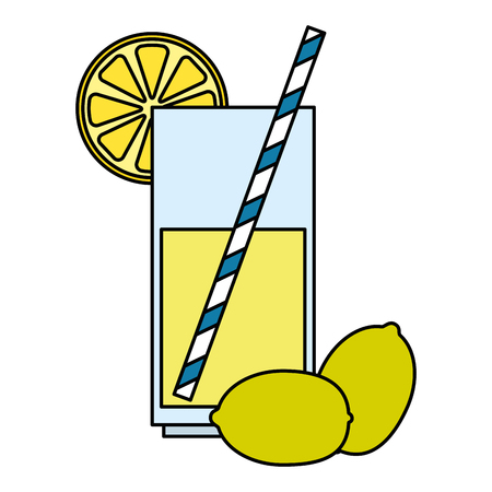 glass with lemon juice fruit vector illustration design