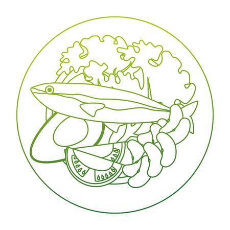 dish with salmon and broccoli vector illustration design Illustration
