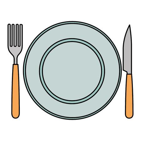 Plato con tenedor y cuchillo, diseño de ilustraciones vectoriales