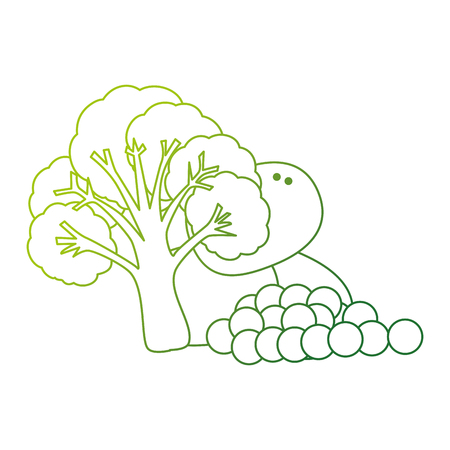 fresh broccoli with potatoes and grapes vector illustration design