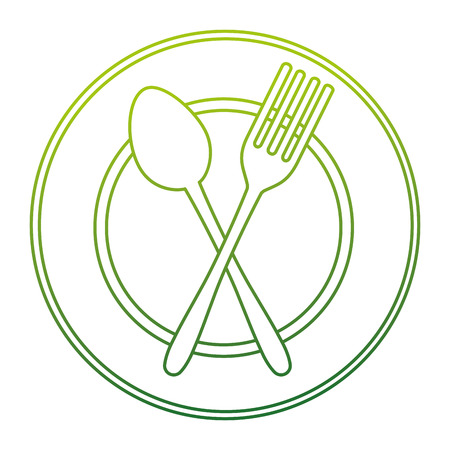dish with fork and spoon crossed vector illustration design