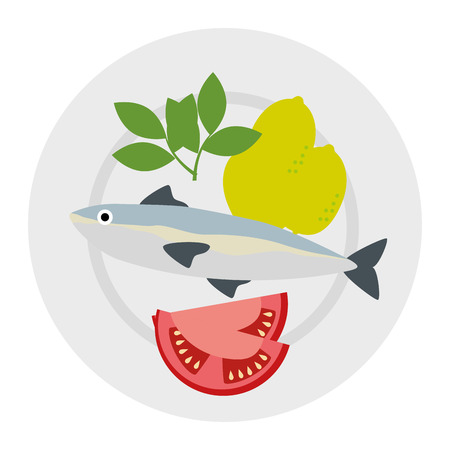 dish with salmon and tomatoes vector illustration design