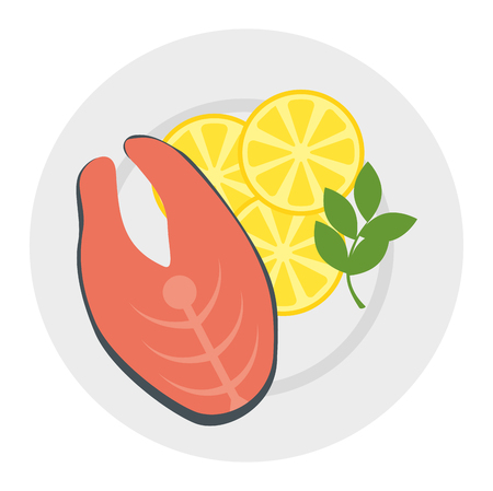 dish with fresh salmon steak and vegetables vector illustration design