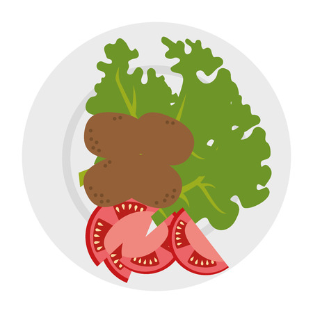 dish with fresh lettuce and potatoes vector illustration design 일러스트