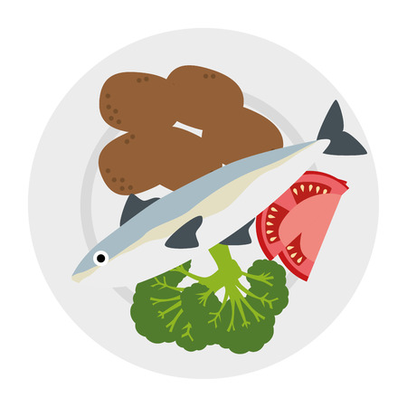 dish with salmon and potatoes vector illustration design