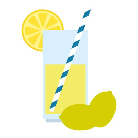 bicchiere con succo di limone frutta illustrazione vettoriale design