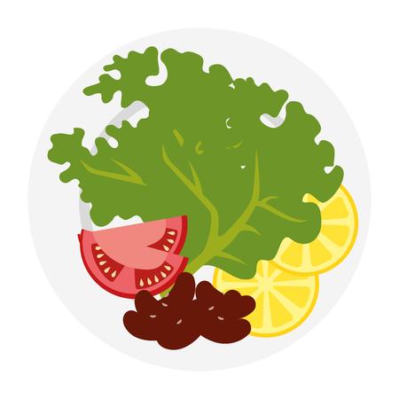 dish with fresh lettuce and lemons vector illustration design Illustration