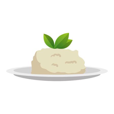 dish with mashed potatoes vector illustration design Ilustração