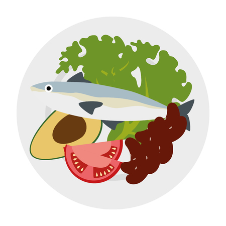 dish with salmon and broccoli vector illustration design 向量圖像