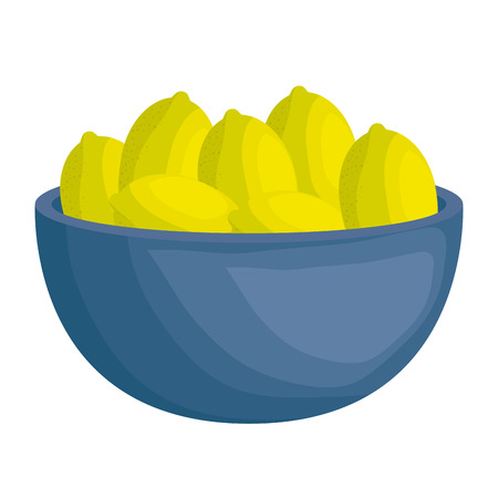 kitchen bowl with lemons vector illustration design