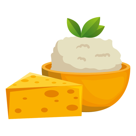 kitchen bowl with mashed potatoes and cheese vector illustration design Standard-Bild - 112283100