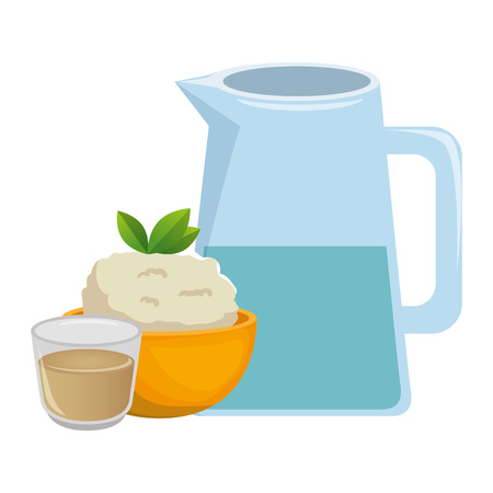 kitchen bowl with mashed potatoes and water jar vector illustration design