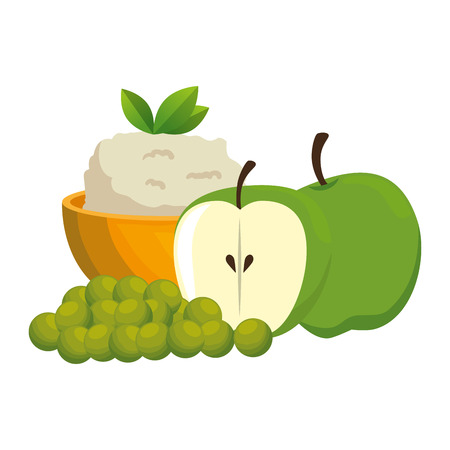 kitchen bowl with mashed potatoes with apples vector illustration design Standard-Bild - 112283102