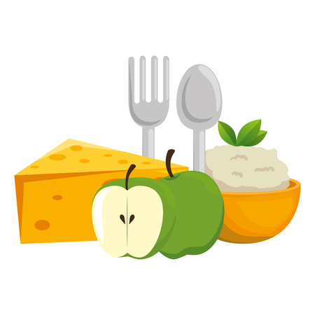 kitchen bowl with mashed potatoes with apples vector illustration design Standard-Bild - 112283103