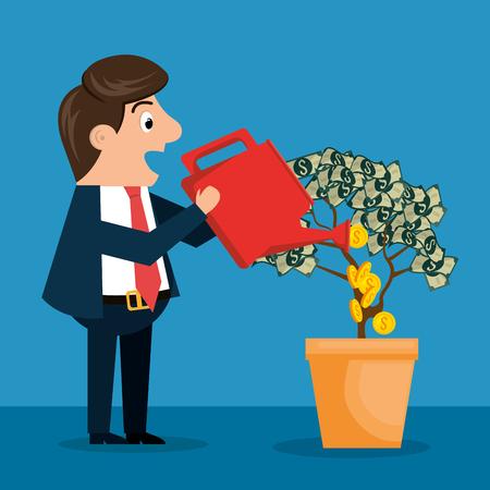 Carácter de empresario con iconos de economía, diseño de ilustraciones vectoriales