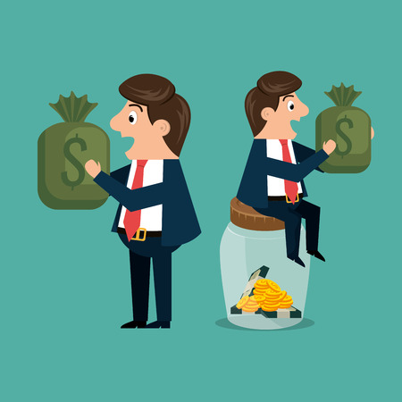 businessmen characters with economy icons vector illustration design