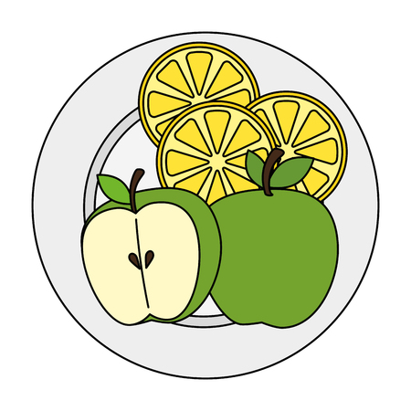 dish with apple fresh and lemon vector illustration design