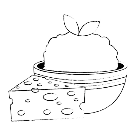 kitchen bowl with mashed potatoes and cheese vector illustration design