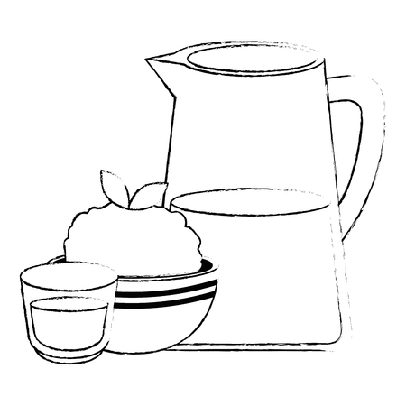 kitchen bowl with mashed potatoes and cream vector illustration design