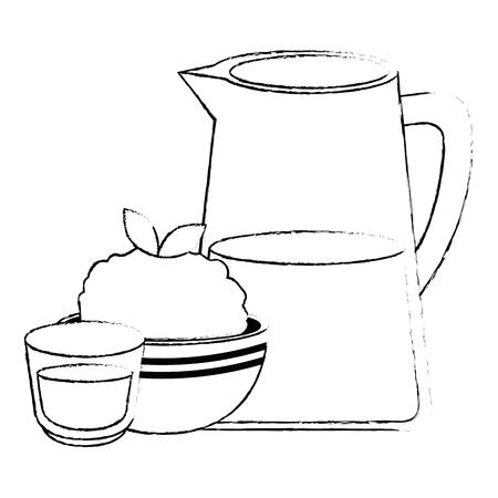 kitchen bowl with mashed potatoes and cream vector illustration design Standard-Bild - 112283165