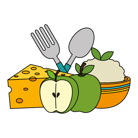 kitchen bowl with mashed potatoes and cutleries vector illustration design  イラスト・ベクター素材