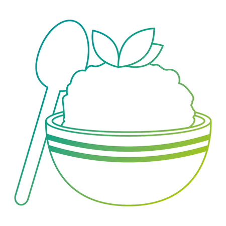kitchen bowl with mashed potatoes and spoon vector illustration design Standard-Bild - 112283181