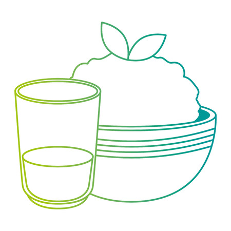 kitchen bowl with mashed potatoes and water glass vector illustration design Standard-Bild - 112283187